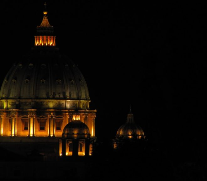 picture of St. Peter's Basilica at night